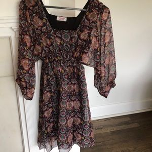 Kaos silk print dress with sheer full sleeves